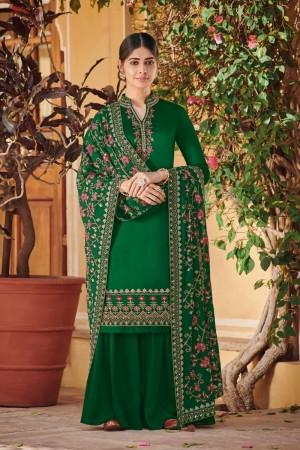 Dark Green Ora Silk Salwar Kameez