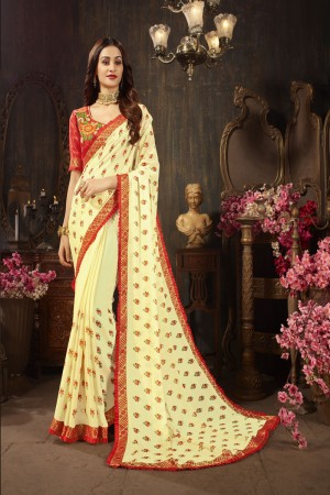 Light Yellow Silk Georgette Saree with Blouse