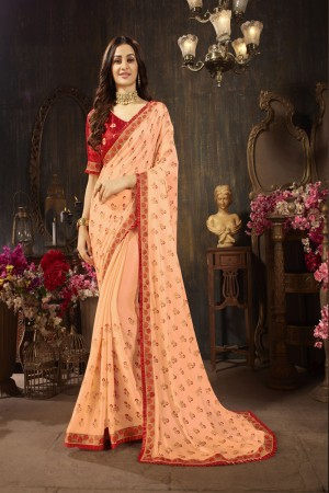 Peach Silk Georgette Saree with Blouse