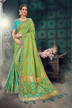 Green Bhagalpuri Silk Saree with Blouse