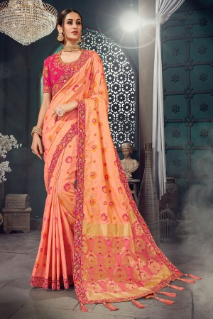 Peach Bhagalpuri Silk Saree with Blouse