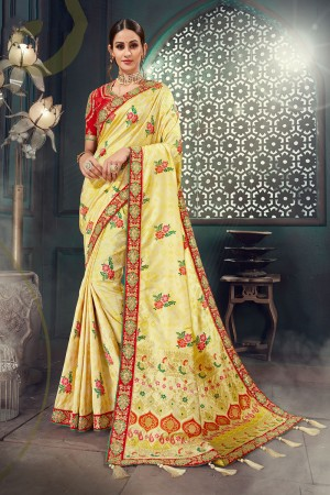 Beige Bhagalpuri Silk Saree with Blouse