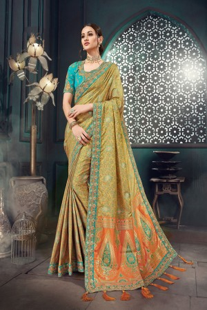 Mustard Bhagalpuri Silk Saree with Blouse