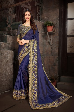 Purple Art Silk Saree with Blouse
