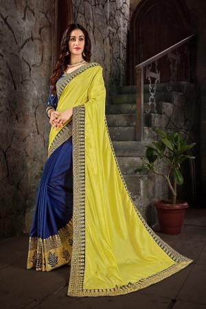 Yellow& Blue Art Silk Saree with Blouse