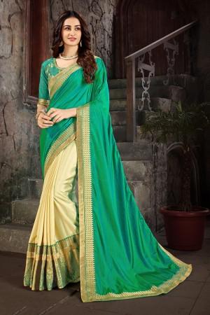 Green & Beige Art Silk Saree with Blouse