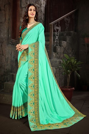 Cyan Art Silk Saree with Blouse