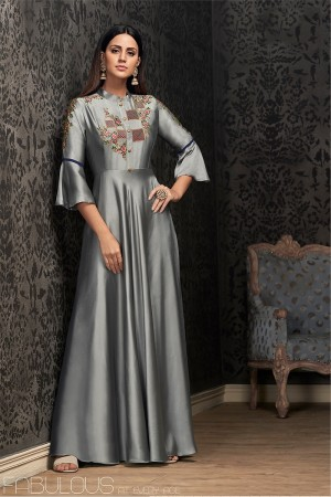 Grey Glowing Georgette Gown