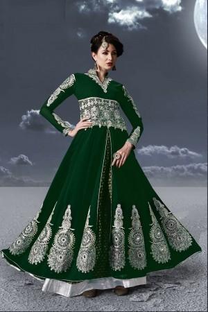 Green Faux Georgette Salwar Kameez