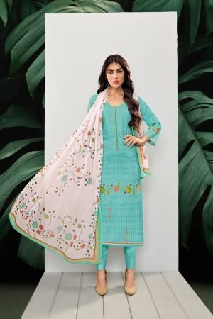 Cyan Cotton Dress Material