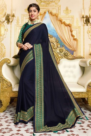 Dark Blue Satin Georgette Saree with Blouse