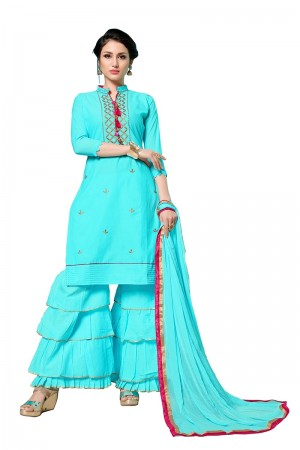 Sky Blue Jam Cotton Dress Material