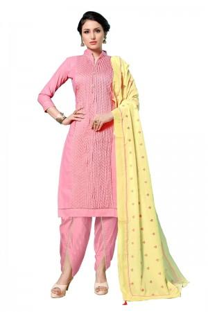 Pink Jam Cotton Dress Material