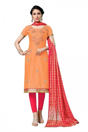 Orange Jam Cotton Dress Material