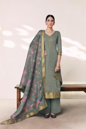 Grey Cotton Silk Jacquard Butti Salwar Kameez