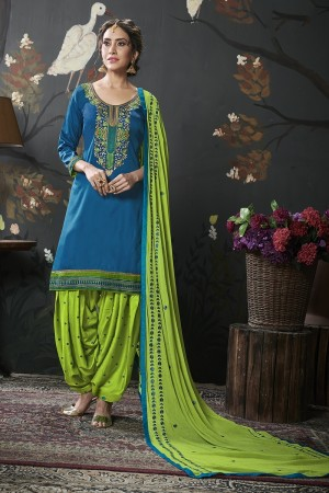 Blue Jam Silk Cotton Dress Material