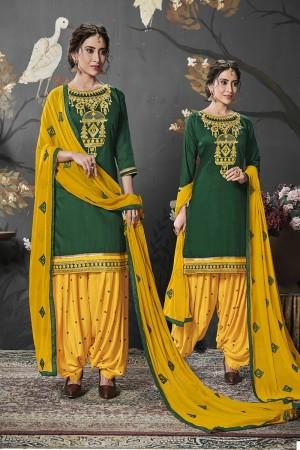 Dark Green Jam Silk Cotton Dress Material