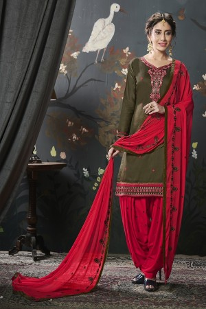 Mehendi Jam Silk Cotton Dress Material
