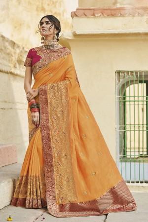 Mustard Cotton Silk Saree with Blouse