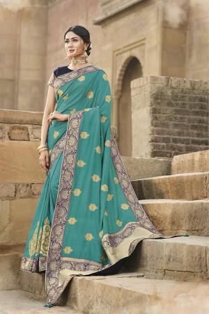 Rama Cotton Silk Saree with Blouse