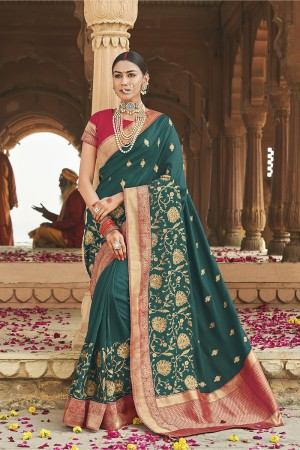 Ocean Green Cotton Silk Saree with Blouse