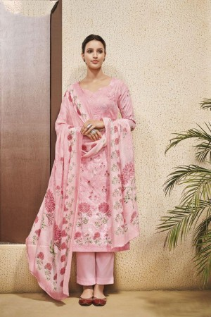 Pink Cotton Satin Salwar Kameez