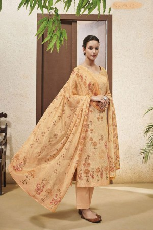 Light Orange Cotton Satin Salwar Kameez