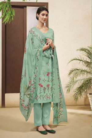Teal Cotton Satin Salwar Kameez