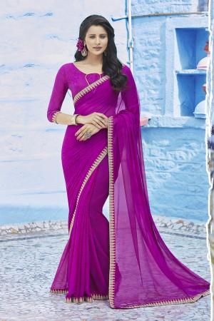 Magenta Chiffon Saree with Blouse