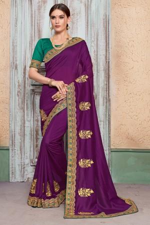 Purple Vichitra Silk Saree with Blouse