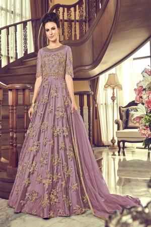Lavender Butterfly Net Salwar Kameez