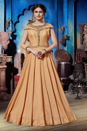 Light Orange Soft Silk Gown
