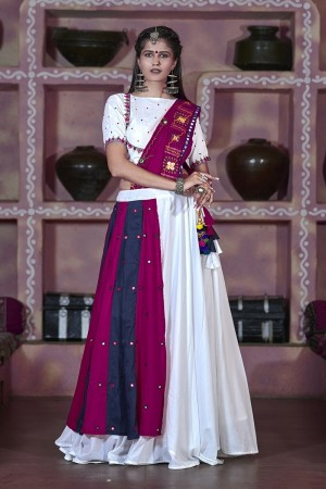 White Soft Cotton Lehenga Choli