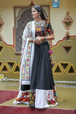 Black Soft Cotton Lehenga Choli
