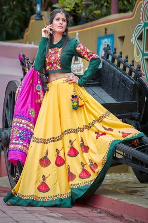 Yellow Soft Cotton Lehenga Choli