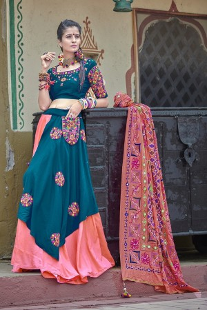 Aqua & Pink Soft Cotton Lehenga Choli