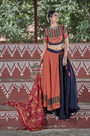 Blue & Orange Soft Cotton Lehenga Choli