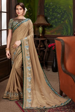 Brown Dola Silk Saree with Blouse