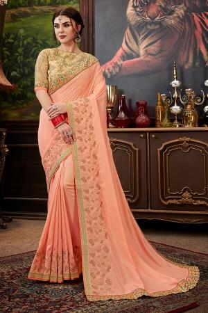 Peach Dola Silk Saree with Blouse