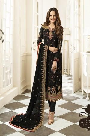 Black Georgette Semi Stitch Salwar Kameez