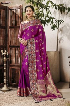 Magenta Silk Saree with Blouse