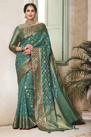Rama Silk Saree with Blouse
