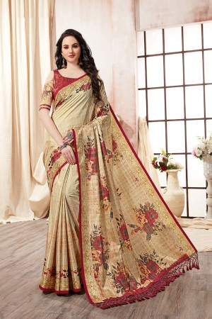 Multi Color Kanjeevaram Silk Saree with Blouse