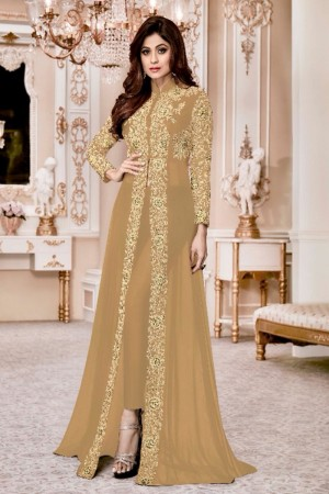 Shamita shetty Beige Georgette  Thread & Zari Embroidery with Diamond Work  Anarkali Suit