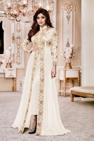Shamita shetty White Georgette  Thread & Zari Embroidery with Diamond Work  Anarkali Suit