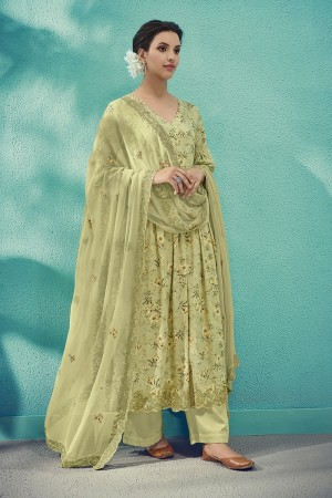 Lime Cotton Satin Salwar Kameez