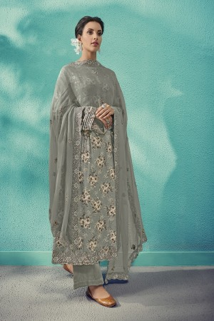 Grey Cotton Satin Salwar Kameez