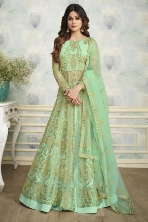 shamita shetty Mint Butterfly Net Salwar Kameez