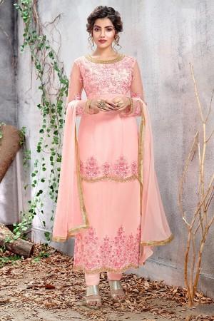 Baby Pink Butterfly Net Salwar Kameez