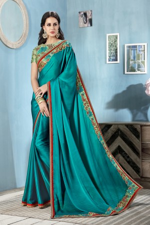 Dark Firozi Moss Chiffon Saree with Blouse